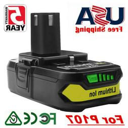 18V 2.5AH Lithium Replacement Battery For Ryobi ONE+ P107 P1