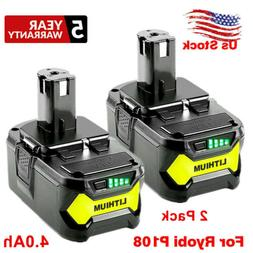 2 Pack 18V 4.0Ah P108 Li-ion Replacement Battery for Ryobi 1