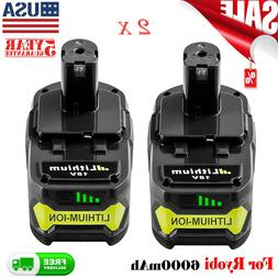 2 Pack 6.0Ah Lithium Battery For Ryobi ONE+ 18V P108 Replace