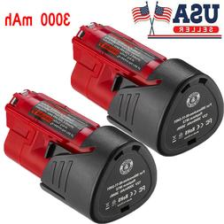 2X 3.0AH 12V Lithium-ion Battery For Milwaukee 48-11-2401 M1