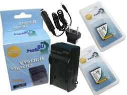 2x Pack - Sanyo Xacti VPC-E1500TP Battery + Charger with Car
