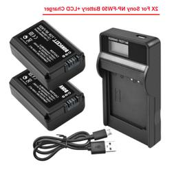 2x Replacement Li-ion NP-FW50 Battery +LCD Charger For Sony