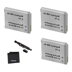 3-Pack NB-6L / NB-6LH High-Capacity Replacement Batteries fo