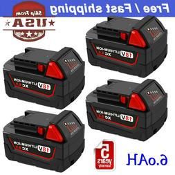 4Pack XC 6.0Ah Replacement For Milwaukee 18V Battery M18 48-