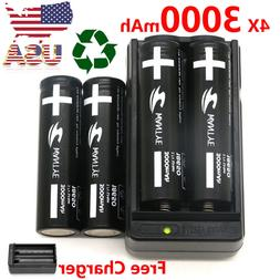 4Pcs Li-ion 5800mAh 18650 Battery with Charger 3.7V Recharge