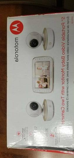 "Motorola 5"" Video Baby Monitor with Two Cameras - White"