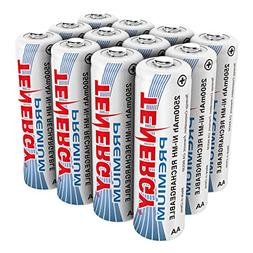 Tenergy Premium Rechargeable AA Batteries, High Capacity 250