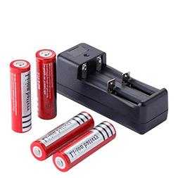 Deruicent 4 Pack 3.7V 18650 Rechargeable Li-ion Battery with