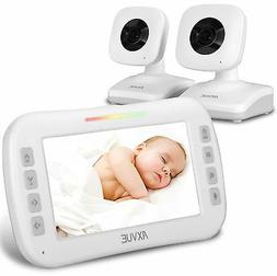 """AXVUE E612 Video Baby Monitor with 4.3"""" LCD Screen and Two C"""