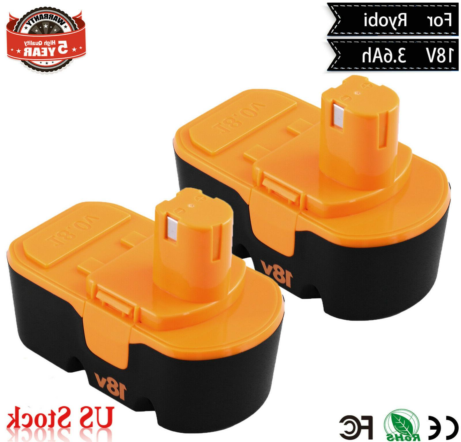 3600mah 2 pack 18v replace battery one