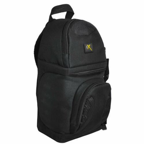 Deluxe Digital Padded Camera + Accessories Sling Backpack Bl