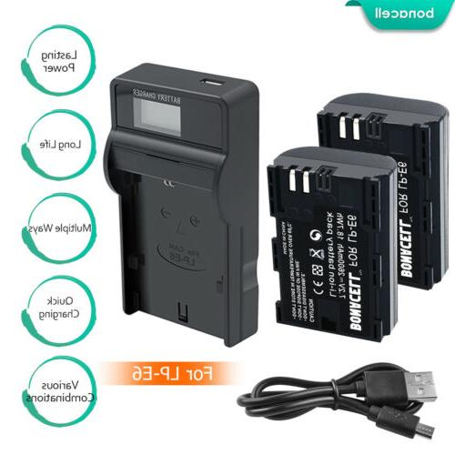Bonacell Replacement Canon LP-E6 Battery and Charger for Can