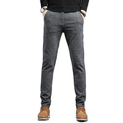 Movard Men's Slim Fit Casual Pants Wrinkle-Free, Flat Front