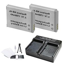 2-Pack NB-6L, NB-6LH High-Capacity Replacement Battery with