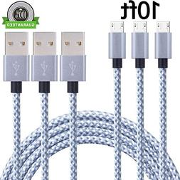 SunCable 3pcs 10ft Nylon Braided High Speed 2.0 USB to Micro