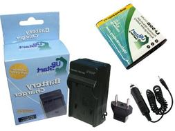 Olympus SP-720UZ Battery and Charger with Car Plug and EU Ad