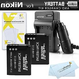 2 Pack Battery And Charger Kit For Nikon COOLPIX S9900, A900