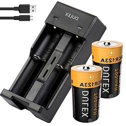 Rechargeable CR123A lithium Battery with Charger, DULEX 2-Pa