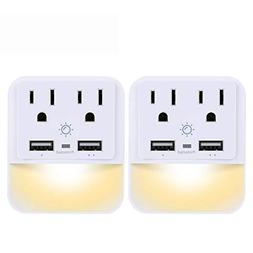 USB Wall Charger, Outlet Adapter, POWRUI 2-Pack Surge Protec